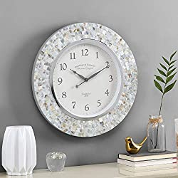 FirsTime & Co. Vivien Ivory Pearl Mosaic Clock, American Crafted, Ivory Pearl, 19.5 x 1.75 x 19.5 ,