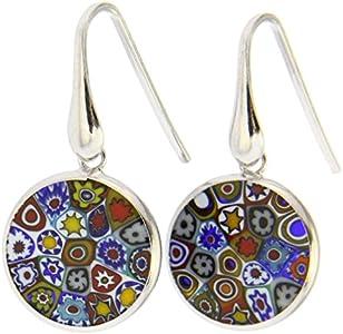 Pendientes de plata de Glassofvenice, pendientes redondos de milénfiori y cristal de Murano