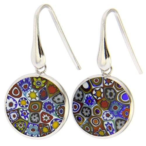 Murano-Glas Millefiori runde baumeln Ohrringe–Silber von GlassOfVenice