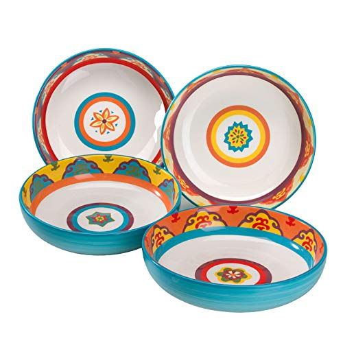 EuroCeramica GAL-1001-5 Galicia Collection, 4 Piece Pasta Bowl Set, Microwave & Dishwasher Safe, Rich Assorted Colors on White