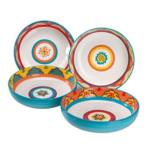 EuroCeramica Galicia Collection, juego de 4 cuencos para pasta, apto para microondas y lavaplatos, colores surtidos sobre blanco