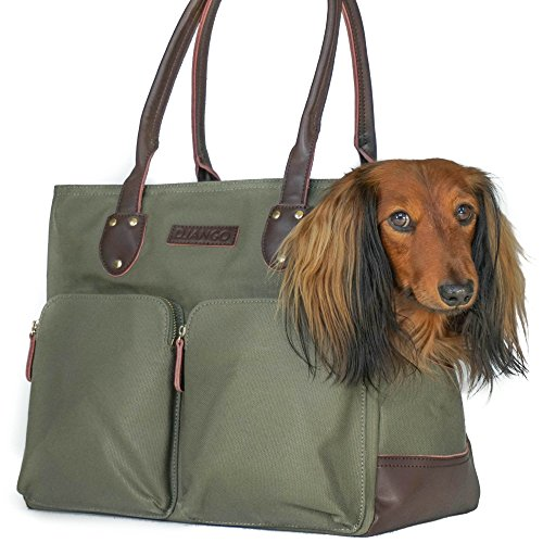 DJANGO Dog Carrier Bag - Waxed Canvas and Leather Soft-Sided Pet Travel Tote with Bag-to-Harness Safety Tether & Secure Zipper Pockets (Medium, Olive Green)