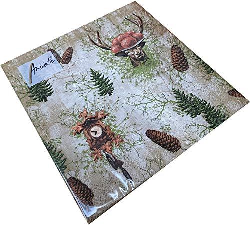 Papier Servietten Kuckucksuhr Lunch Fest Party ca 33x33cm Herbst Winter Weihnachten