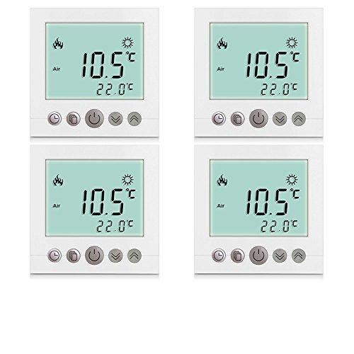 SM-PC®, 4x Set Digital Thermostat Raumthermostat Fußbodenheizung Wandheizung LED weiß #4x a31