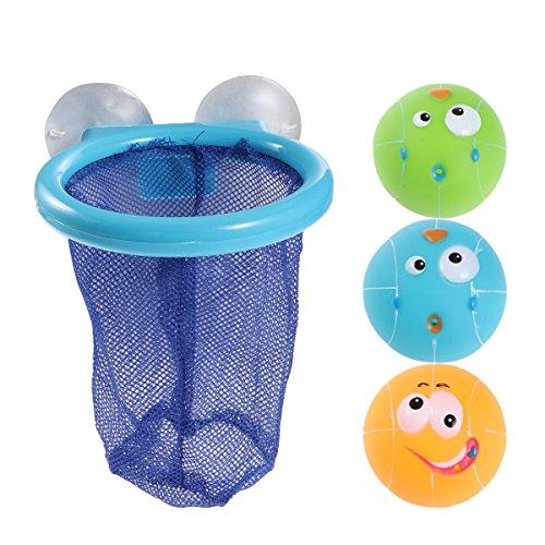TOYMYTOY - Juguete de baño para niños con red de baloncesto y 3 pelotas en la cesta