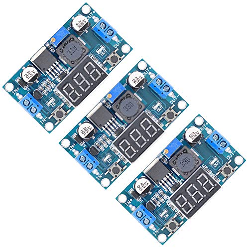 Valefod 3 Pack LM2596 DC to DC Voltage Regulator 4-40V to 1.5-35V Buck Converter with LED Display