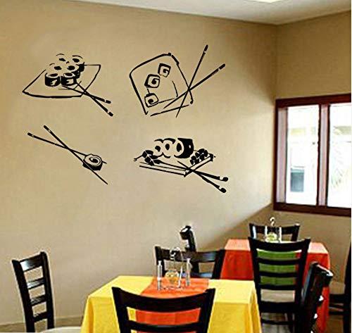 Wuyyii muur Vinyl Sticker Decals muurschildering ontwerp Sushi Roll Chopsticks Japanse Restaurant Sushi Bar Japanse eten Wasabi Rolls 57X42Cm