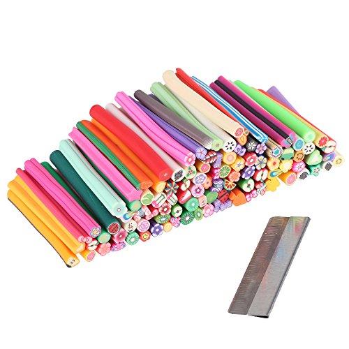 Beauty7 Lot De 100 Bâton Cane Nail Art 3D Fimo Décorations Autocollantes Relief Polymere Canne Canes Cannes + Lame Offerte Pour Ongle Manucure