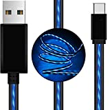 AOLIPLUS USB Type C Cable 6ft LED USB C Cable Visible Flowing Fast Charger Cord Compatible with Samsung Galaxy S9 Note 9 8 S8 Plus,LG V30 V20 G6 G5,Google Pixel,MacBook,USB C Devices - Blue