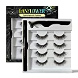 Lanflower Natural Eyelashes with Eyeliner, Waterproof and Smudge-proof Liquid Eyeliner Kit , Glue Free No Magnetic Eyelashes 4 Pairs