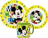 Mickey Maus Kinder-Geschirr Set mit Teller, Müslischale und Trinkbecher