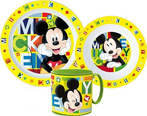 Mickey Mouse - Vajilla infantil con plato, cuenco para cereales y vaso
