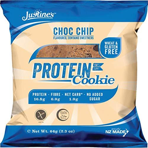 Justine's low carb Cookie mit Schokoladenstückchen   Kohlenhydratarm 2g   Proteinreich   Ohne Zuckerzusatz   Glutenfrei   Ohne Weizen   6 x 64g