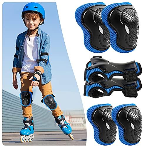 ALISXM Kinder Knieschoner,Protektoren Kinder Schonerset Schutzausrüstung,Set 6 in 1 Ellenbogenschoner Knieschützer Inliner Kinder für Skateboard Radfahren Roller Skating Radfahren (Blau)