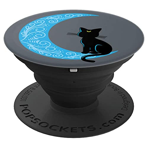Black Cat Crescent Moon Sailor Mom - PopSockets Grip and Stand for Phones and Tablets