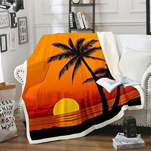 Loussiesd Sunset - Manta de felpa para sofá cama, playa, sherpa, tropical, hawaiana, vacaciones, transpirable, decoración de habitación de la naturaleza, doble 152 x 182 cm