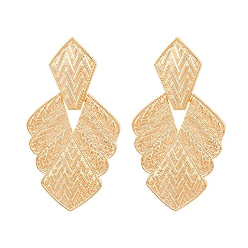 jiao Leaf Alloy Big Dangle Earrings For Women Girl Vintage Gold Color Drop Earrings Large Metal Statement Jewelry Gold
