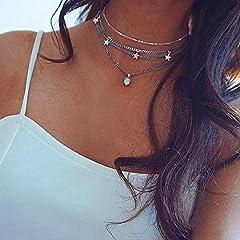 Idea Regalo - Jovono argento multistrato collana girocollo stella nappa opale pendente collana catena di gioielli per donne e bambine