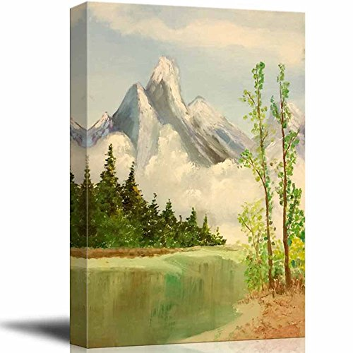 wall26 - Beautiful Scenery of Mountain and Lake Nature Landscape at Day Time - Giclee Print Canvas Wall Art Oil Painting Reproduction Modern Home Art Ready to Hang - 16' x 24'