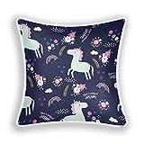 Blueangle - Fundas de almohada de unicornio mágico, 45 x 45 cm, decorativas cuadradas, fundas de almohada de felpa suave para decoración del hogar, sofá, dormitorio, coche