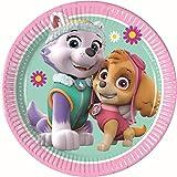 PROCOS 90275 Paw Patrol Skye & Everest - Platos de cartón para Fiestas (8 Unidades), Color Rosa y Verde