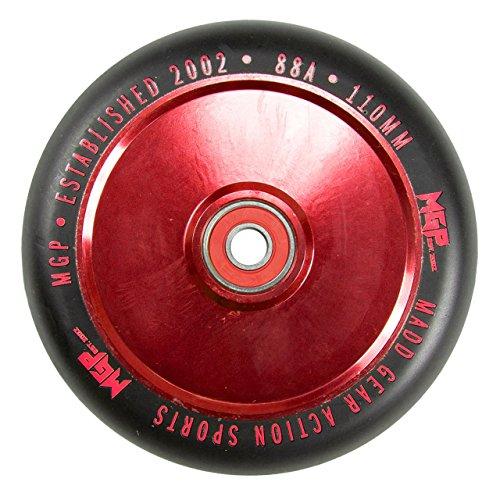 MADD Gear MFX Defekte Hollow Core 110mm Metal Core Scooter Wheels–Rot/Schwarz (Paar)