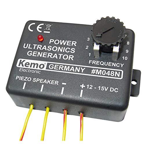 Kemo M048N Ultraschall Generator Verscheucht Tiere, Vögel und Insekten. Für Anschluss von Piezo Lautsprecher. Zur Befestigung in Vorratsräumen, Küchen, Lagerhallten, Gärten