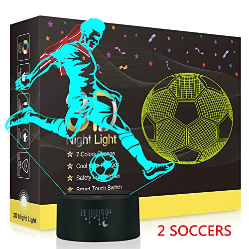 Football Rugby 3D Night Light, Rquite 2 Pattern Optical Illusion Lamps for Football Fans Boys Girls, 7 Color Change Decor Lamp for Kids Room, Favourite Gifts of Birthday Christmas Holiday Thanksgiving