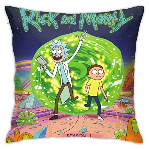 N / A Rick N Morty Pillowcase Sofa Cover Seat Cover Plush Fabric 45x45 Cm Home Products Comfortable Soft For Living Room