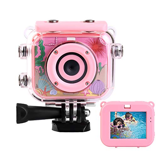 Hi-Luck Kids Camera, Waterproof Action Children Camera, Digital Video 1080P HD Sports Camera Camcorder for Boys Girls, Best Birthday Gift for 3-12 Years Old Kids-with 8GB SD Card (Pink)