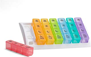 Ezy Dose (7-Day) Pill, Medicine, Vitamin Organizer Box | Weekly, 4 Times a Day, AM PM | Great for Travel | Rainbow Lids | ...