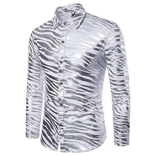 Zebra Stripes Herenhemd, dubbelkleurig, metallic, glanzend, disco-lijn, slim fit, kraagpullover met lange mouwen, hemd blouse voor discoparty, casual herenhemd
