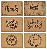 120 Thank You Cards with Matching Brown Kraft Envelopes and Stickers Sold by a U.S. Family Business - Elegant 6 Designs Kraft Paper Bulk Blank Notes for Wedding, Business, Formal, Baby Shower and All Occasions 4x6 Inch Blank