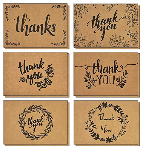 120 Thank You Cards with Matching Brown Kraft Envelopes and Stickers - Elegant 6 Designs Kraft Paper Bulk Blank Notes for Wedding, Business, Formal, Baby Shower and All Occasions 4x6 Inch Blank