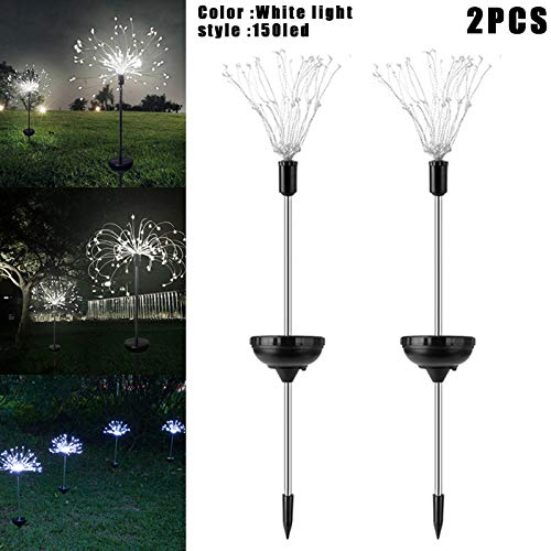 Leobtain 2UNIDS Powered Solar 90/150LED Luces Alambre de Cobre Starburst Fuegos Artificiales Hada Cadena Jardín Paisaje Luz Navidad Decoración al Aire Libre Camino Césped Lámpara Impermeable