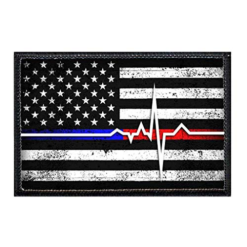 American Flag - Lifeline - Black and White Morale Patch | Hook and Loop Attach for Hats, Jeans, Vest, Coat | 2x3 in | by Pull Patch