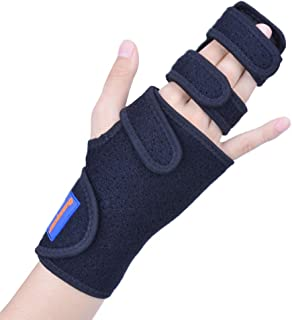 Trigger Finger Splint for Two or Three Finger Immobilizer - Full Hand and Wrist Brace Support for Broken Joints, Sprains, Contractures, Arthritis, Tendonitis and Pain Relief (Right, L/XL)