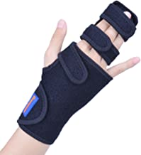 Trigger Finger Splint for Two or Three Finger Immobilizer - Full Hand and Wrist Brace Support for Broken Joints, Sprains, Contractures, Arthritis, Tendonitis and Pain Relief (Right, S/M)