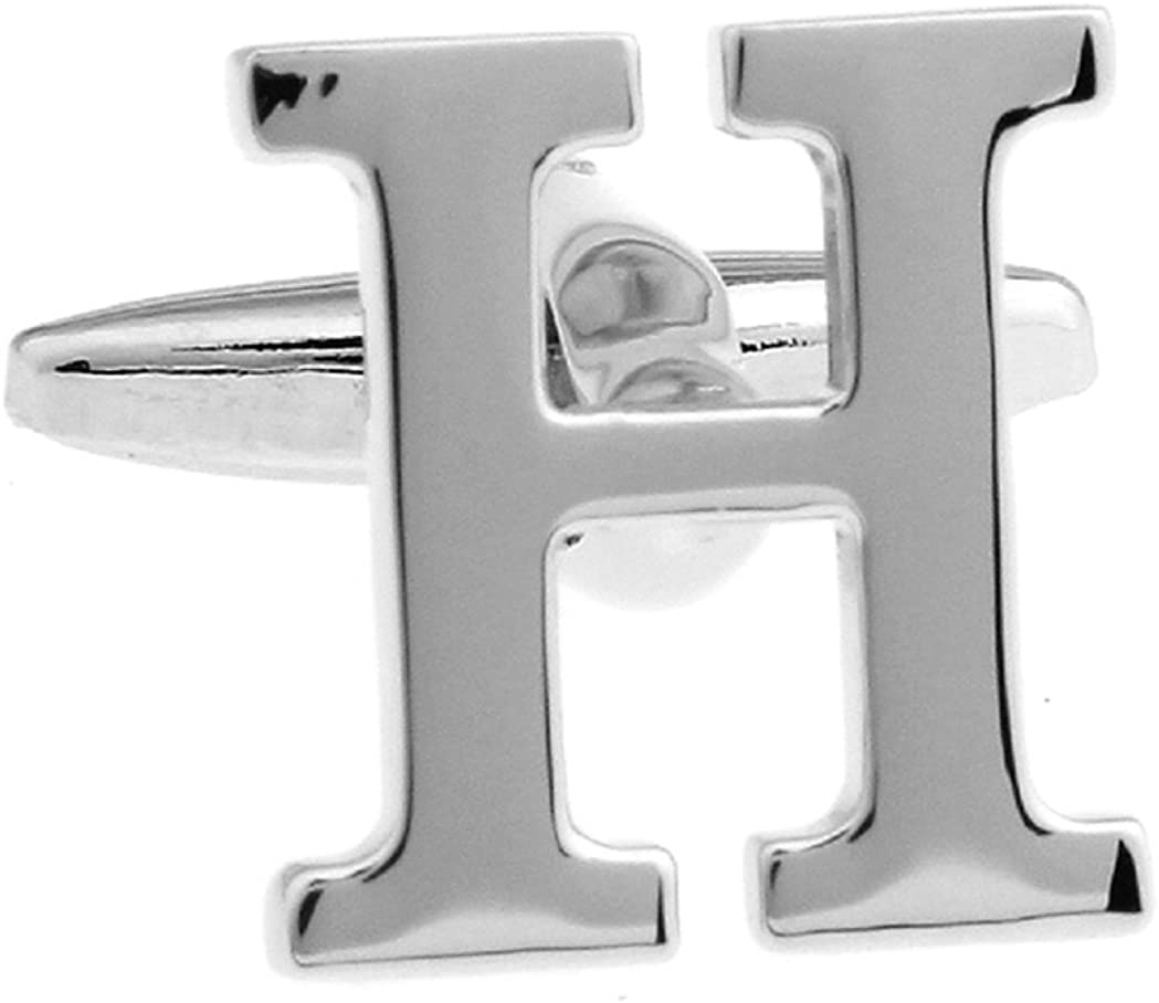 MRCUFF Letter A-Z Monogram Initial Cufflinks with a Presentation Gift Box & Polishing Cloth