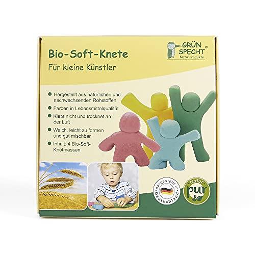 GRÜNSPECHT Naturprodukte 680-00 Bio-Soft-Knete gelb, rot, blau, grün, mehrfarbig, 500 g mehrfarbig
