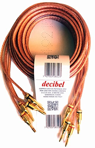 Decibel DB-225XX-TB cavi di potenza per collegare casse acustiche (2 metri, rosso)