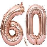 Ouceanwin 2 Palloncini Numero 60 in Oro Rosa, Gigante Foil Palloncini Numeri 60 Mylar Palloncino Gonfiabile 40' Elio Pallone per Signore Ragazze Decorazioni Feste 60 Anni Compleanno (100 cm)