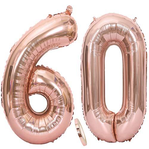 Feelairy Luftballons 60. Geburtstag XXL Rose Gold, 2 Stück Riesen Folienballon Zahl 60 mit Band Nummer Ballons 40