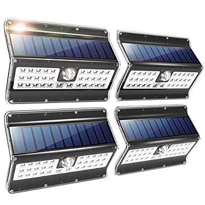 Solar Lights Outdoor, 3 Optional Modes Wireless Motion Sensor Solar Light, IP 65 Waterproof, Security Lights for Front Door, Yard, Garage, Deck, 4 Pack