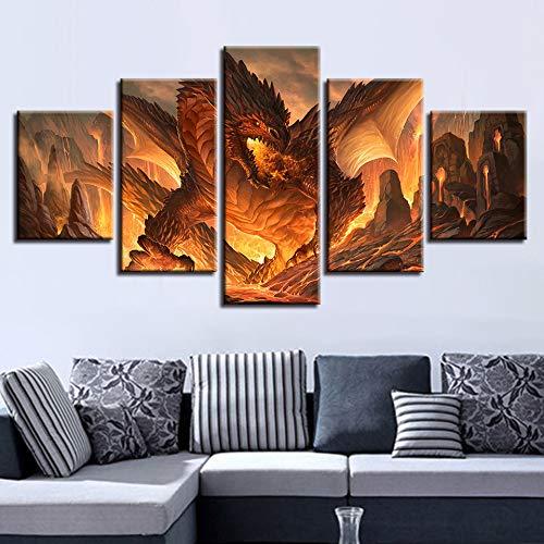PEJHQY Moderne Leinwand Bild 5 Spiel Poster Tier Drachen dekorative Malerei Nacht Hintergrund Wandmalerei,Leinwanddruck 5