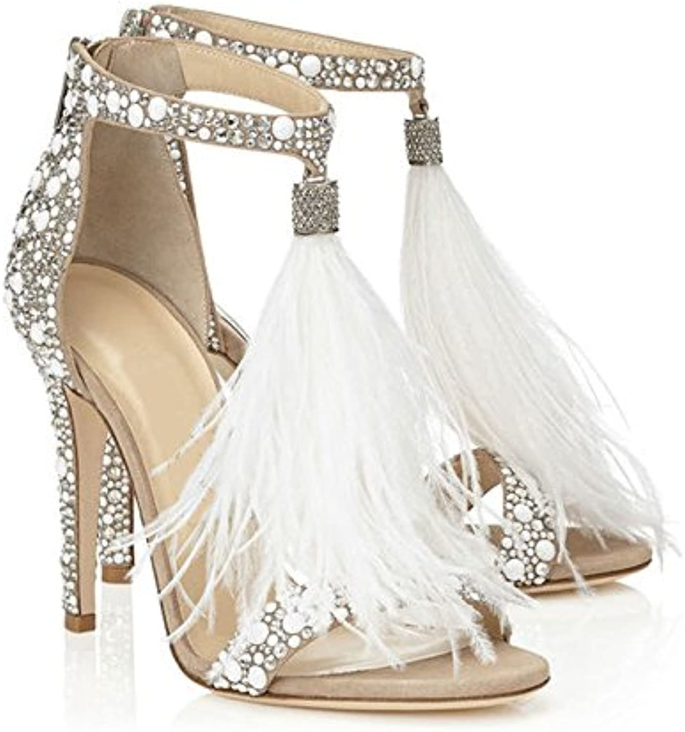 WHW Women's Summer Stretch Satin Wedding Dress Party Evening Low Heel Crystal Sandals,Apricot,42