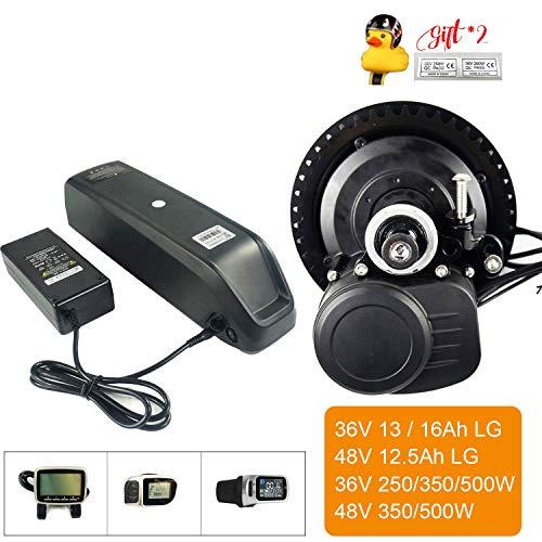 LiRongPing 36V 48V 250W 500W Pantalla del Medio del Motor de accionamiento eléctrico E No Bafang Moto Función Kit de conversión con la batería (Display : 36V250W13Ah)