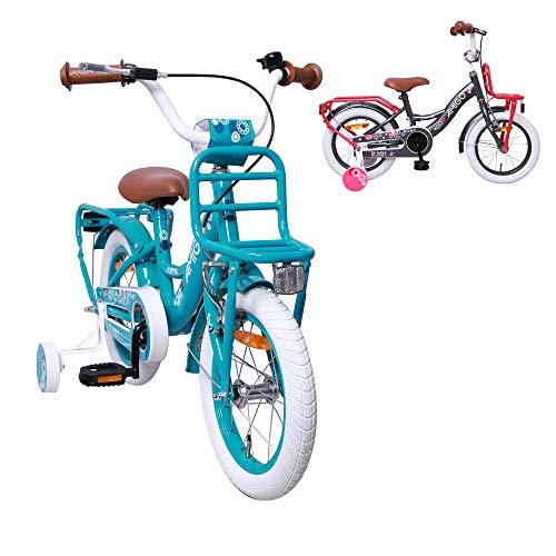 AMIGO Bloom - kinderfiets - 14 inch - meisjes - met terugtraprem en steunwielen - vanaf 3 jaar - turquoise