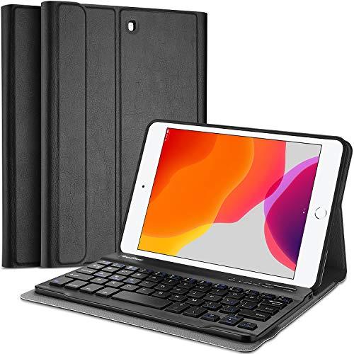 ProCase Funda con Teclado Inglés para iPad Mini 5 2019 / Mini 4 2015 / Mini 3 2014 / Mini 2 2013 / Mini 2012, [US QWERTY] Keyboard Case Tapa Inteligente, Universal para iPad Mini Series - Negro
