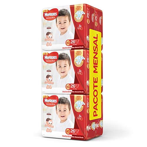 Huggies Pacote Mensal Supreme Care Mega XG, 156 Fraldas, XG, Embalagem pode variar